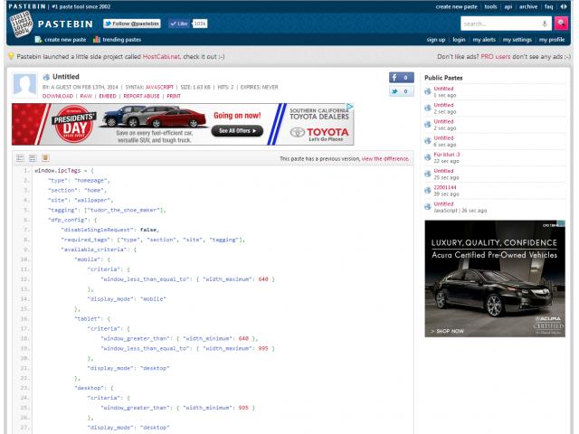 Advertise on Pastebin | BuySellAds