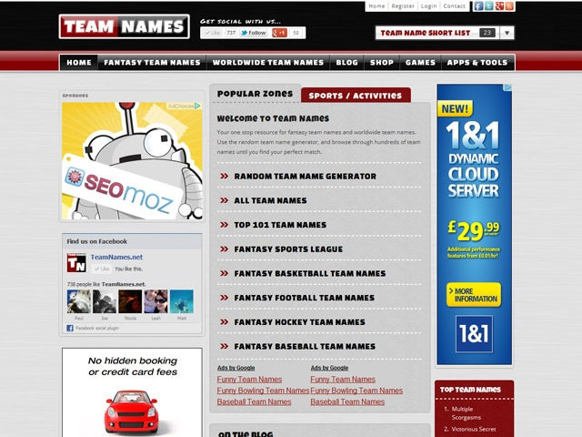 Advertise on TeamNames net - Team Names   BuySellAds
